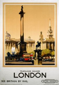 Trafalgar Square, London. British Railways (LMR) Travel Poster by Claude Buckle